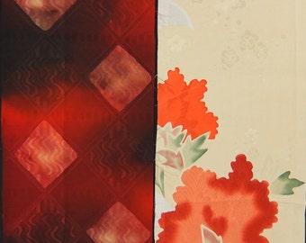 Vintage kimono silk fabric-2 pcs #7419