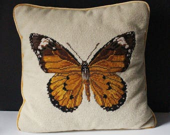 Vintage Needlepoint Monarch Butterfly Pillow Cushion Cover