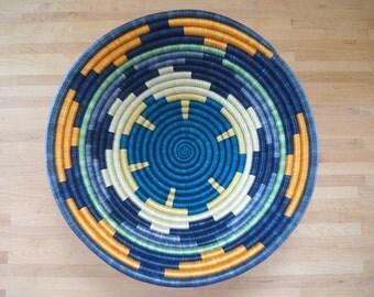 """16"""" X-Large African Basket // Rwanda Basket // Woven Bowl // Sisal & Sweetgrass Basket // Blues, Yellows, Green, Orange"""