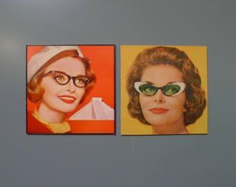Set of Two Vintage Cat Eye Glasses Magnets