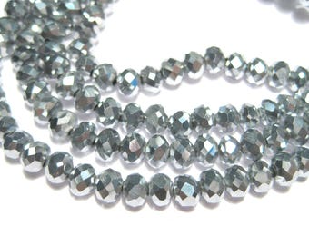 1 Strand Electroplate Silver Rondelle Faceted Glass Beads 6x4mm
