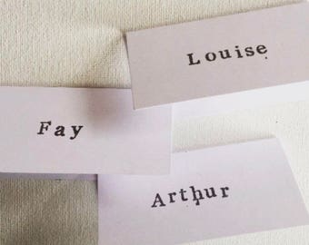 Brown Cards - Wedding - Party - Hand Stamped - Vintage Style - Typewriter Letters - Place Name Cards - Made to Order - Place Settings