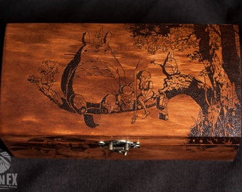 box, wooden box, jewelry box, engraved wooden box, custom box, keepsake box, casket, totoro, my neighbor totoro, anime, miyazaki, ghibli