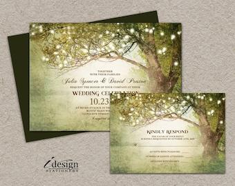Woodland Wedding Invitations With Rsvp | Printable Rustic Country String Lights Wedding Invitation Sets | Backyard Wedding Invites