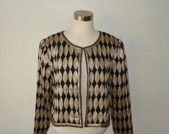Vintage Stenay Jacket  -  Black silk evening jacket, gold thread embroidery  -  Medium/Large