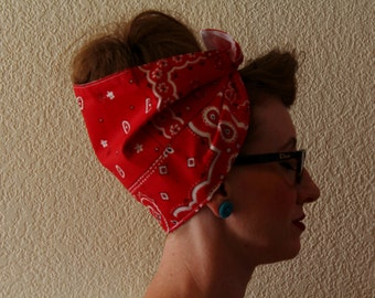 Red Bandana Hankerchief Head Wrap Extra Wide Women's 1940's Retro Vintage Inspired Head Scarf Rockabilly Headband Dust Cap Paisley Top Knot