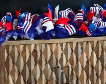 Patriotic Deco Mesh Garland, patriotic decor, Fourth of July garland, Independence Day Garland