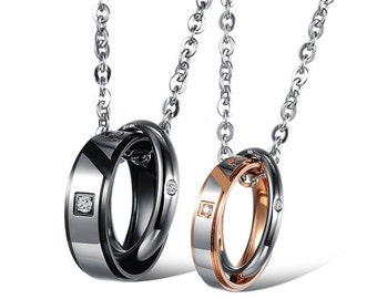 True Love - Couples Necklaces / Personalized Gifts for Him / Girlfriend and Boyfriend Necklaces / Matching Jewelry for Couples
