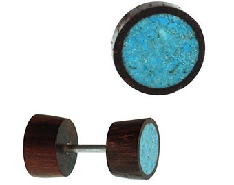 Fake wooden plug piercing crushed turquoise inlay Sonoholz stainless steel hand work (OHP-190)