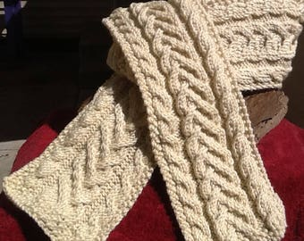 Cream cable knit scarf, ivory chunky knit scarf, Aran cable pattern, infinity lengtih, soft premier acrylic, soft, warm scarf