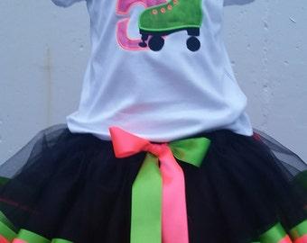 Roller skate Ribbon tutu set ribbon tutu and shirt