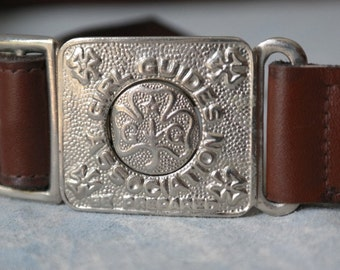 Vintage Leather Girl Guides Belt with Ornate Buckle