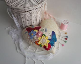 pincushion,heart pincushion,fabric heart,large pincushion,pincushions,novelty pincushion,butterfly pincushion,applique pincushion,heart,uk
