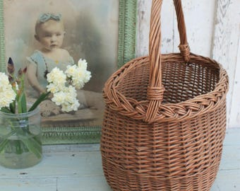 French, Vintage ,Wicker ,Basket/ French Vintage Shopping Basket