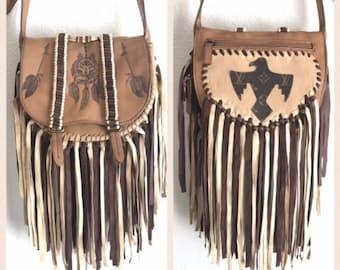 Leather Boho Fringe Crossbody bag