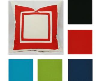 "Double ribbon border decorative throw pillow cover. 18"" x 18"". 20"" x 20"". 22"" x 22"". 24"" x 24"". toss pillow."