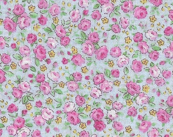 Tiny Roses - Pale Pink on Blue (5108-70) by Lecien Cotton Fabric