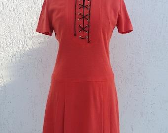 Vintage 70's Orange Long Sleeved V-Neck Dress (Medium Size)