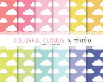 Clouds Digital Paper, Colorful clouds background in red pink yellow green mint violet and blue color, Baby clouds pattern