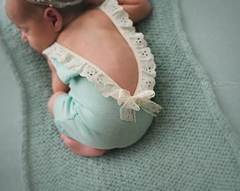 Newborn Eyelet Lace Romper-- Newborn Romper-- Newborn Photography Prop