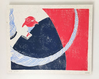 Original linocut from childrenbook (page 2)