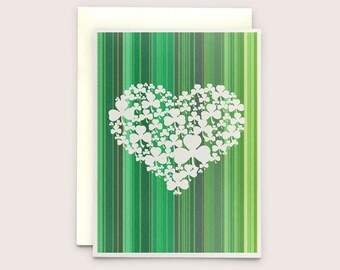 Irish Greeting card - Shamrock Heart 50 Shades of Green