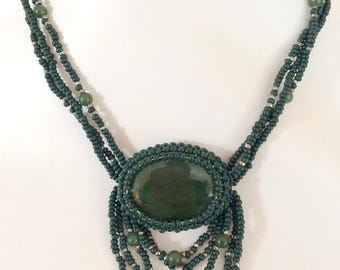 Dark Green Tribal Style Beaded Necklace with Jasper Pendant