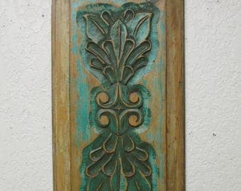 Old Door Hand Carved Antique Panel-Vintage #2-Mexican Folk Art-Primitive-13.5x29 inches-Art--Unique-Wall-Soft Green