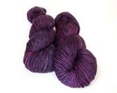 Hand dyed Sparkly sock/fingering weight, superwash Merino wool/nylon/bronze Stellina - OOAK 'Elderberry Cordial' kettle dyed - Vesta Sock