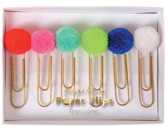 Pom Pom Paper Clips, Meri Meri Pom Pom Party Favor, Pom Pom Bookmark, Teacher Gift, Stationery Scrapbooking Supply