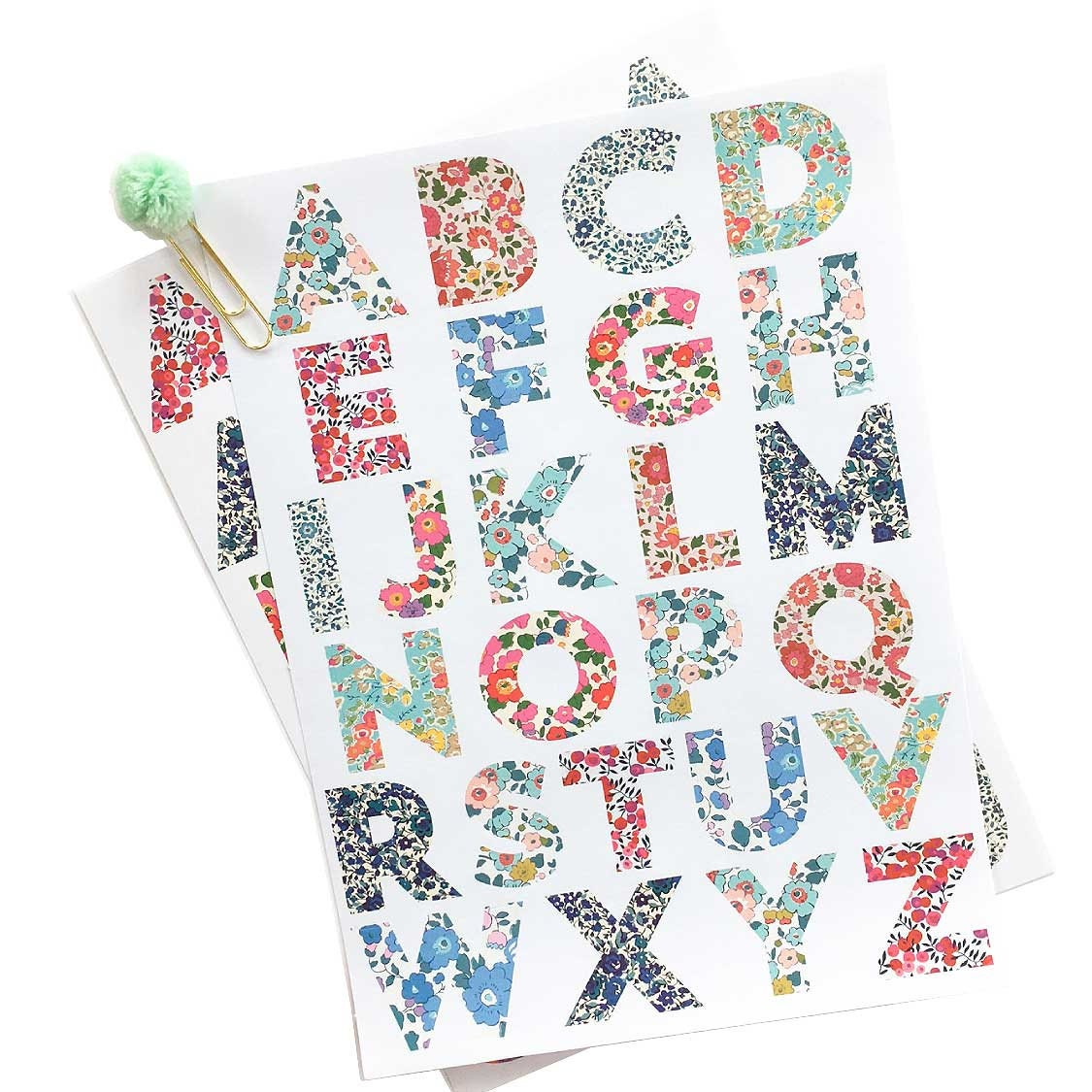 Letter stickers liberty print large alphabet stickers by meri for Print letter stickers