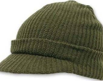 WWII WW2 US 100% Wool Knit Jeep Cap Hat O.D. Green