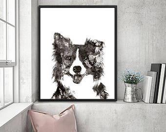 Border Collie art, Border Collie print, Dog Art Print, dog painting, dog decor, dog print, black white dog poster - B10