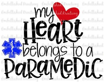 Paramedic/'My Heart Belongs To A Paramedic' with Heart/Star of Life Vinyl Decal OR HTV DIY Decal/Tumbler/Auto Decal/Shirt Decal/Baby Photos