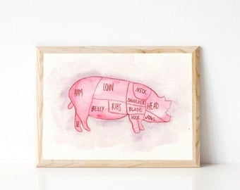 Pig Butcher Chart - Butcher Print - Butchers Chart Print - Watercolor Meat Chart - Butcher Diagram - Meat Chart Print - Modern Farmhouse Art