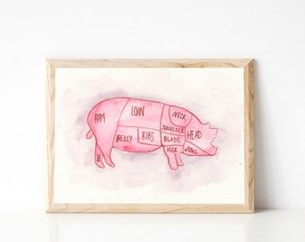 Pig Butcher Chart - Butcher Print - Butchers Chart Print - Watercolor Meat Chart - Butcher Diagram - Meat Chart Print - Modern Farmhouse Art