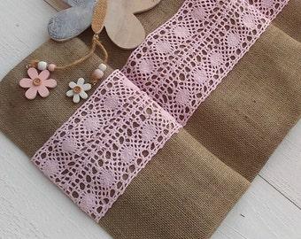 Runner - Burlap Runner with Pink Crochet Lace - Rustic Runner - Table Runner - Wedding Runner - Home Decor - Table Decor