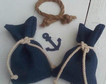 Blue Favor Bag - Nautical Favour Bag- Beach Wedding Favor Bag - Wedding Favor - Favor Bag - Gift Bag - Beach Wedding - Set of 25