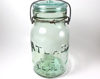 Atlas E-Z Seal Quart Light Green Glass Canning Jar Lightning