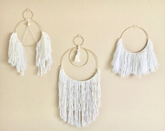 Fringe Wall Hanging in White and Gold