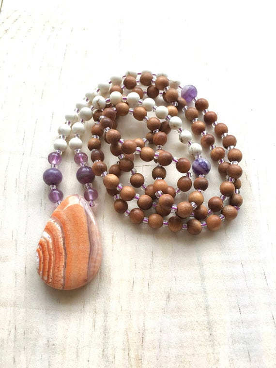 Sunrise Mala Beads, Mala For Patience, 108 Bead Sandalwood Mala, Yoga Meditation Necklace, Beaded Mala Necklace, Howlite And Amethyst Mala