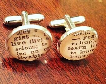 LIVE LEARN cufflinks cheeky ex husband or ex boyfriend gift or gift for friend