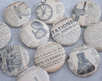 Vintage Antique Sears Roebuck Catalog Pages, Variety 5 Pack Button Set (all buttons feature a unique image and / or text)