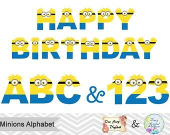Minions Alphabet Digital Clip Art, Instant Download Minions Number Clipart, Minions Letter Clipart, Printable Minions Alpha Clip Art 0064