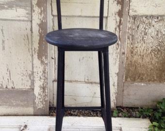 Industrial black metal shop stool