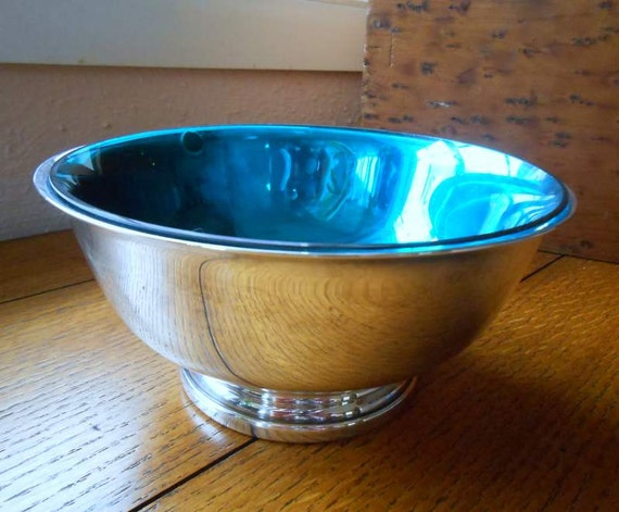 Silver Candy Or Nut Dish With Blue Insert Bowl Gorham Silverplate Reception Table