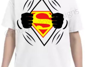 Superman Inspired Youth Shirt // Superhero Shirt