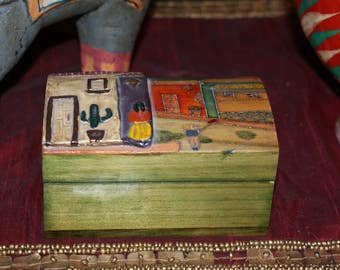 Darling Hand Painted Mexican Decorative Wooden Box