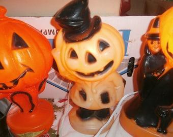 Vintage Halloween plastic blow mold set 3 Jack o lantern pumpkin witch black cat top hat