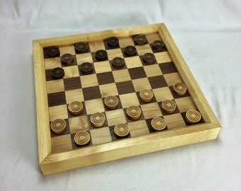 Walnut and Maple Checkers board with game pieces